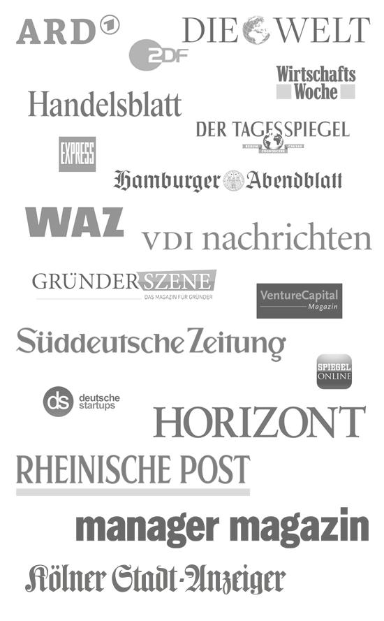 ARD, ZDF, Die Welt, FAZ, Handelsblatt, WirtschaftsWoche, WAZ, Berliner Tagesspiegel, Kölner Express, Hamburger Abendblatt, Venture Capital Magazin, VDI Nachrichten, Spiegel.de, gruenderszene.de, deutsche-startups.de